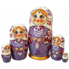 Nesting doll Sergiev-Posad 5 pcs. Shawl Light Purple
