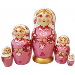 Nesting doll Sergiev-Posad 5 pcs. Shawl Pink