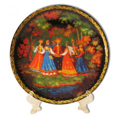 """Plate 10-23 Palekh 10 sm. """"Round dance"""" + a support in packing"""