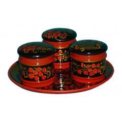 Khokhloma gift Set for spices 4 subjects