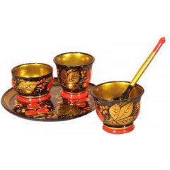 Khokhloma for food Set for spices of 5 subjects