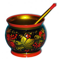 Khokhloma for food Vase for sauce with a spoon