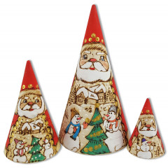 Nesting doll 3 pcs. The cone carved the Santa Claus 16 cm.