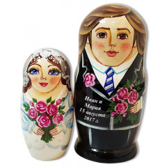 Nesting doll Sergiev-Posad the bride and groom, wedding, 2 pcs.