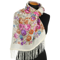 Pavlovo Posad Shawl Pavlovo Posad with wool fringe 89 x 89 1599-2 The garden of the soul