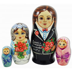 Nesting doll Sergiev-Posad the groom and bride, wedding with a personal inscription, 4 pcs.