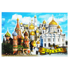Magnet metal 02-19K8 Moscow, collage, khvb - HHS - domes of the Kremlin cathedrals, flat