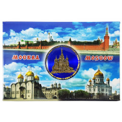 Magnet metal 02-3-19B-19K11 Moscow - collage, St. Basil's Cathedral, blue insert