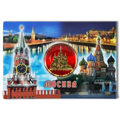 Magnet metal 02-3-19R-19K13 collage St. Basil's Cathedral and Spassky Tower, Moscow, insert red disc