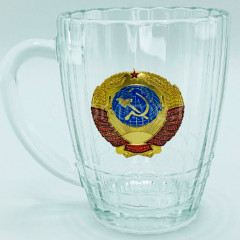 """Mug beer glass """"Proletarians of all countries, unite!"""". The coat of arms of the USSR"""