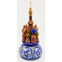Musical cathedral - a breadboard model Russia, Gzhel turquoise, 21 cm, non-rotating, St. Basil's Cathedral