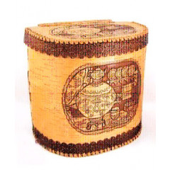 birch bark products bread high with a hinged lid, Samovar, 23 x 30 x 31