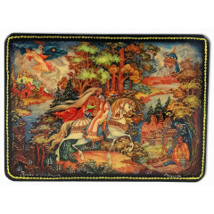 Lacquer Box Kholuy Svyatogor, the tale of Ruslan and Ludmila.