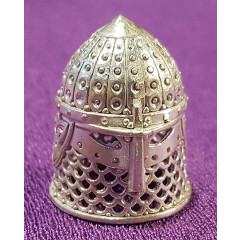 Thimble helmet knight, bronze alloy with silver plated