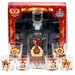 Ware the Patriotic set, decanter and 6 shot glasses, Soviet Union