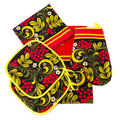 Textiles Khokhloma set, 5 pcs, towel 2 pc, apron, mitten and potholder