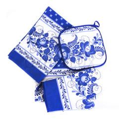 Textiles Gzhel set, 5 pcs, towel 2 pc, apron, mitten and potholder