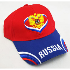 Headdress Baseball cap Russia, Russian coat of Arms, wings, red top, blue visor