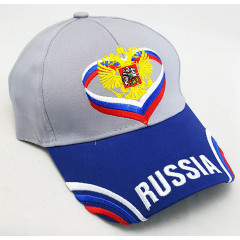 Headdress Baseball cap The coat of arms of Russia, gray top, blue visor