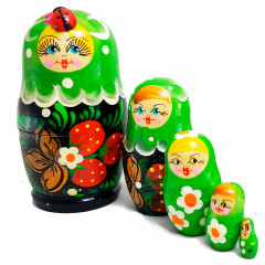 Nesting doll 5 pcs. green, flowers with strawberries in stock