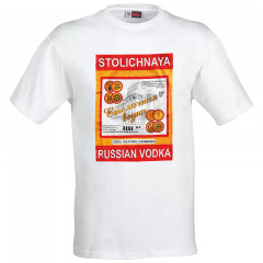 T-shirt XL Stolichnaya vodka, white, XL