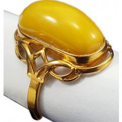 Amber ring Golden Flower
