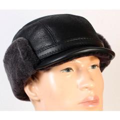 Headdress fur hat men's winter cap, sheepskin, black