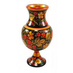 Khokhloma gift A wide vase with a narrow foot 23