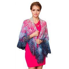 Pavlovo Posad Shawl Downy shawl handmade Drape blue and white