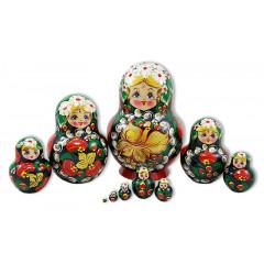 Nesting doll 10 pcs. Strawberries, handkerchief with daisies