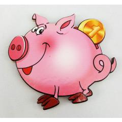 Magnet wooden piggy Bank, symbol of 2019!