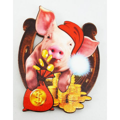 Magnet wooden pig with a horseshoe, symbol of 2019!