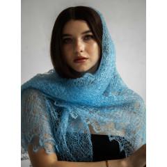 Pavlovo Posad Shawl Downy shawl handmade shawl light blue, 130 h 130
