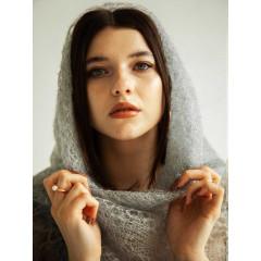 Pavlovo Posad Shawl Downy shawl handmade gossamer, light grey, 1.30