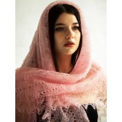 Pavlovo Posad Shawl Downy shawl handmade spider web pink, 120 x 120