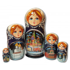 Nesting doll 5 pcs. ¶Cathedrals, blue , Kirzh