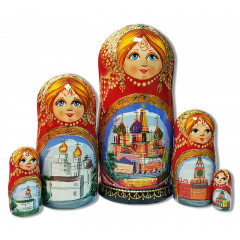 Nesting doll 5 pcs. ¶Cathedrals, red , Kirzh