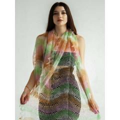 """Pavlovo Posad Shawl Downy shawl handmade downy openwork stole, """"Pistachio rainbow"""", 200 x 60"""