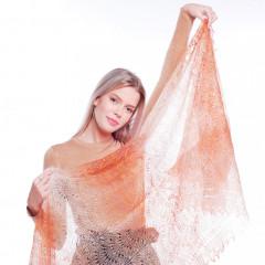 Pavlovo Posad Shawl Downy shawl handmade stole downy openwork, beige with overflow, 200 x 60