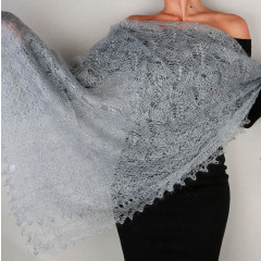 Pavlovo Posad Shawl Downy shawl handmade stole downy openwork, (light gray), 200 x 60
