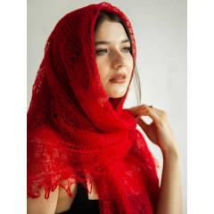 Pavlovo Posad Shawl Downy shawl handmade shawl down red, 120 x 120