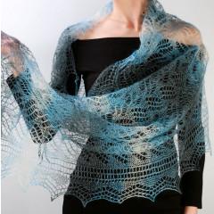 Pavlovo Posad Shawl Downy shawl handmade down openwork stole, (blue, white, black), 200 x 60