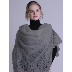 Pavlovo Posad Shawl Downy shawl handmade shawl, light gray, 1.30