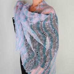 "Pavlovo Posad Shawl Downy shawl handmade down openwork stole, ""rainbow"", 200 x 60"