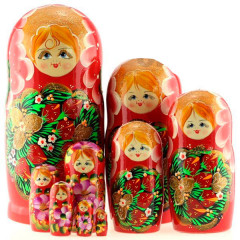 Nesting doll 10 pcs. Khokhloma strawberry, 14