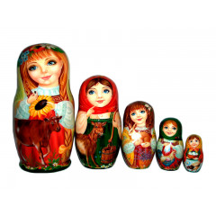 Nesting doll 5 pcs. Girls with animals, 14 cm.