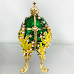 Copy Of Faberge 1979-003 egg jewelry box, light blue