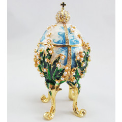 Copy Of Faberge 1979-003 egg jewelry box, white-blue