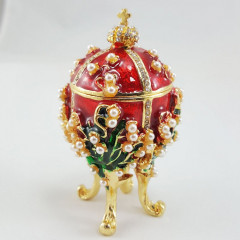 Copy Of Faberge 1979-003 egg jewelry box, red