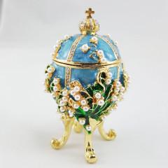 Copy Of Faberge 1979-003 egg jewelry box, light-blue